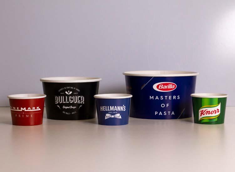 potes descartáveis de papel para bolo, sorvete, e restaurantes