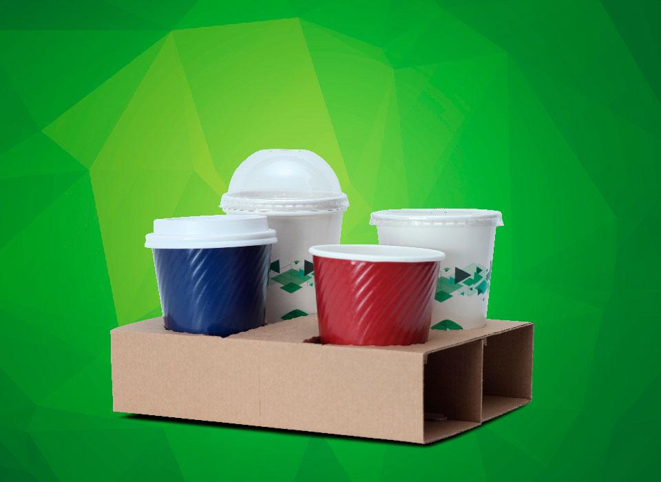 suporte para 3 copos de papel biodegradáveis